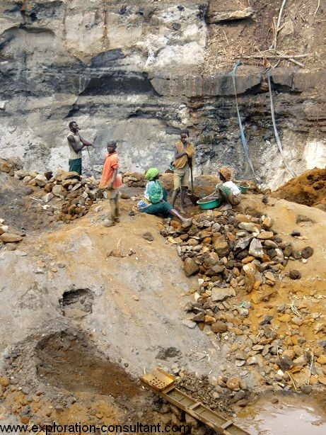Crushing of gold ore, often done by women and kids.